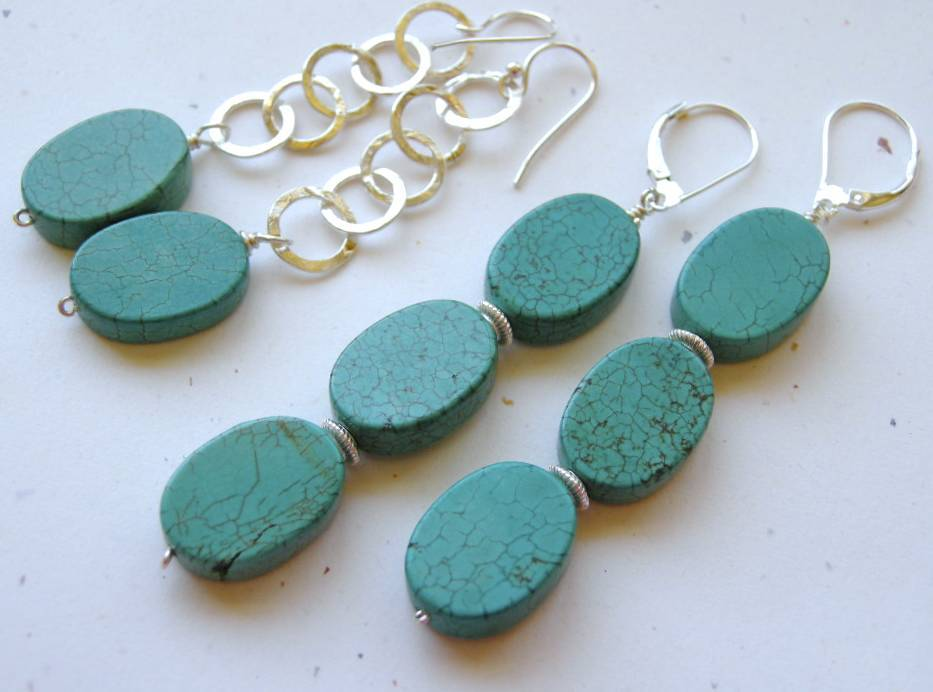Turquoise 3 drop Sterling Silver earrings Camp Sundance