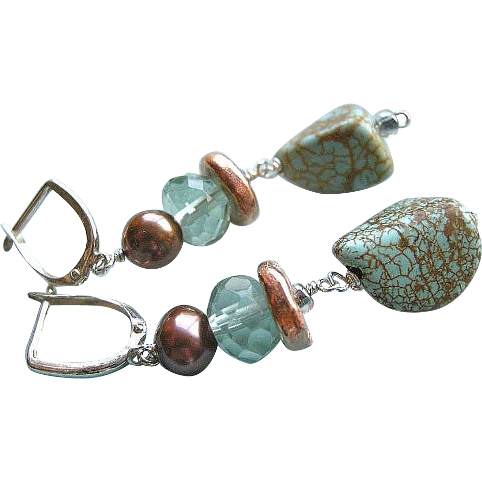 Turquoise earrings, Silver earrings, Copper earrings, Pearl earrings, Camp Sundance, Gem Bliss