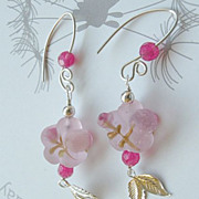 Pink designer earrings glass roses leaves Sterling Silver Camp Sundance