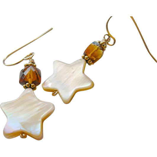 Citrine  earrings, Madeira Citrine earrings, Camp Sundance, star charm, Gold filled, Camp Sundance, Gem Bliss