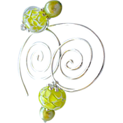 Silver spiral Hoops, Hoop earrings, Glass flower charms, Green Pearls, Camp Sundance, Gem Bliss