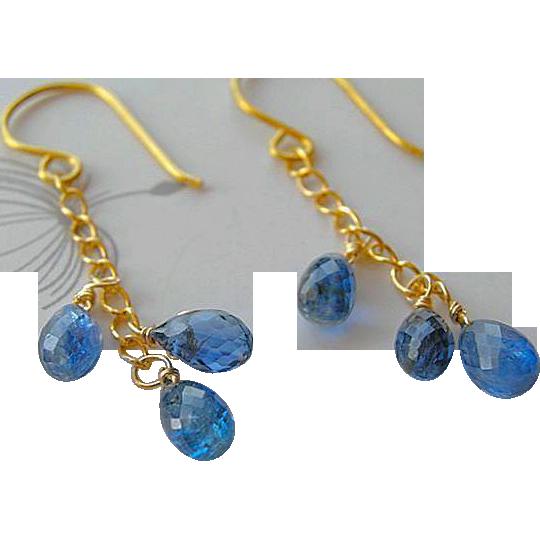 Blue Kyanite, drop earrings, 14k, Gold filled, Camp Sundance, cascade earrings, Gem Bliss