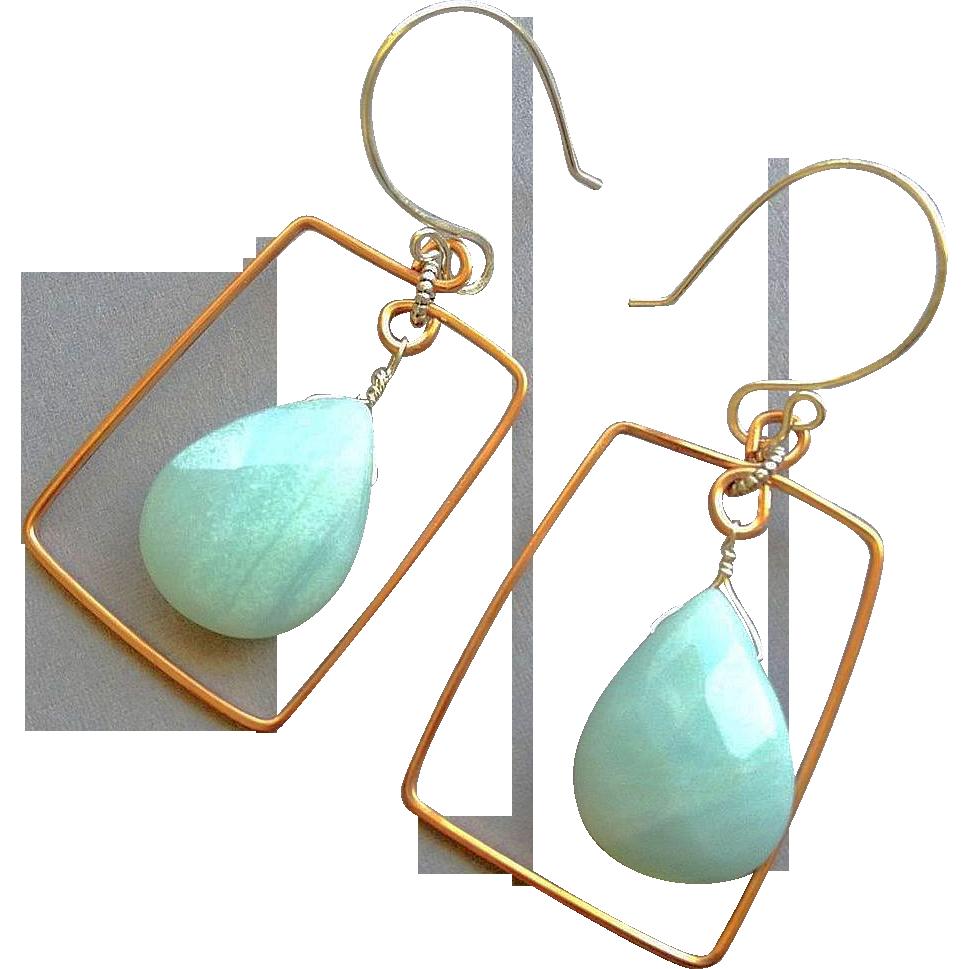 Amazonite hoops Copper earrings Silver Amazonite earrings Camp Sundance, Gem Bliss