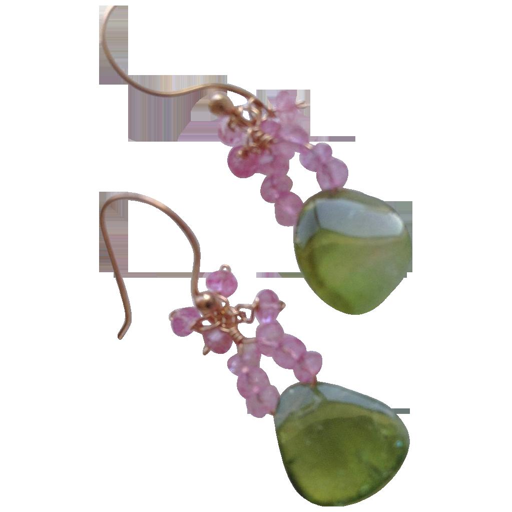 Tourmaline Slice earrings, Rose Gold filled, Topaz earrings, Camp Sundance, Gem Bliss