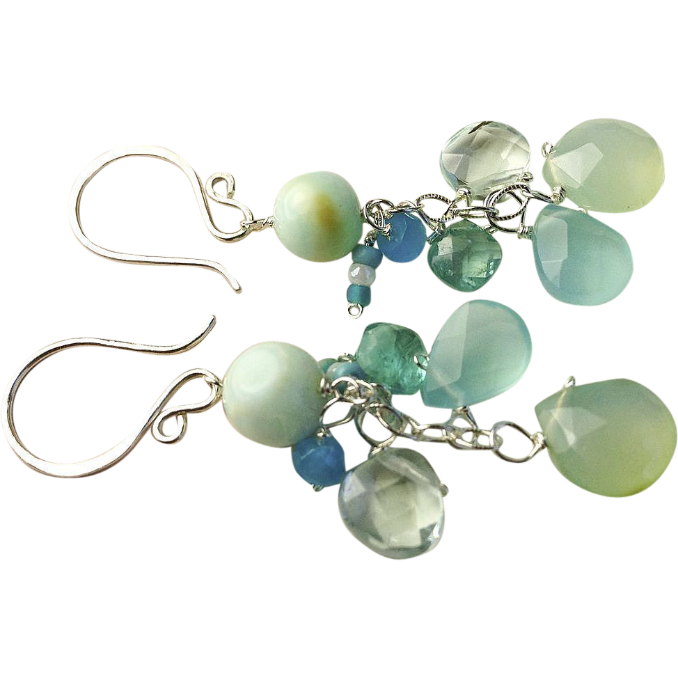 Peruvian Opal earrings, Chalcedony, Apatite, Silver Chandelier earrings, Camp Sundance, Gem Bliss