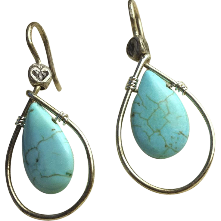 Turquoise hoop earrings, Teardrop briolette earrings, Camp Sundance, Silver earrings, Gem Bliss