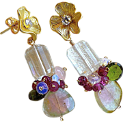 Watermelon Tourmaline earrings, gem Slices, Flower earrings, Camp Sundance, Gem Bliss