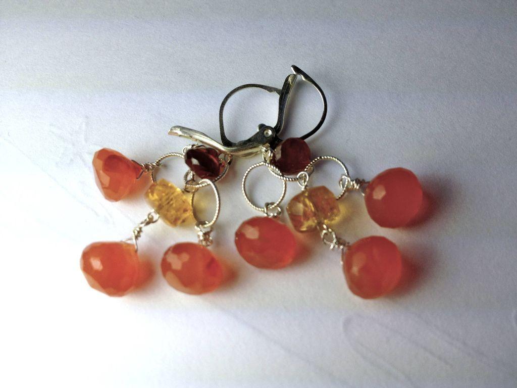 Chalcedony Citrine Hessionite Garnet chandelier earrings Camp Sundance