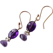 Amethyst earrings, Rose Gold filled, Camp Sundance, Gem Bliss