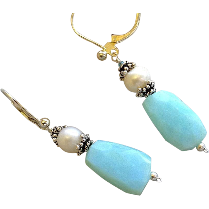 Peruvian Opal earrings, Bali Silver earrings, Pearl drop earrings, Camp Sundance, Gem Bliss