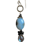 Larimar earrings,Labradorite, Silver drop earrings, Camp Sundance, Gem Bliss