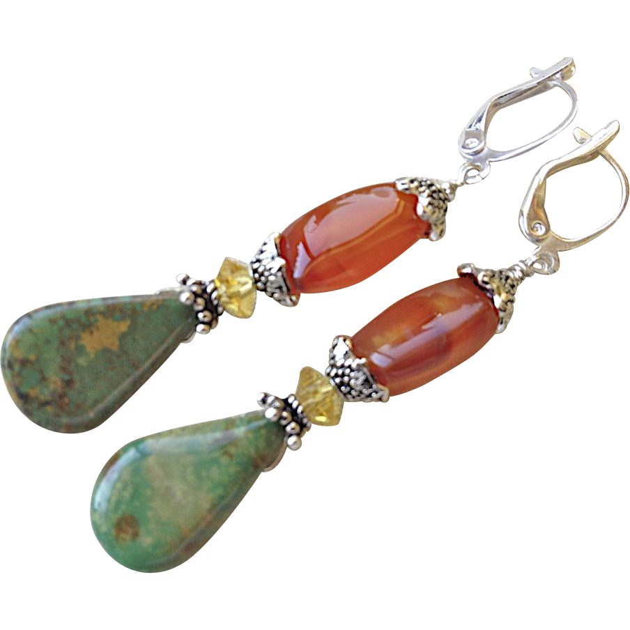 Turquoise Carnelian earrings Urban Rustic Camp Sundance chic