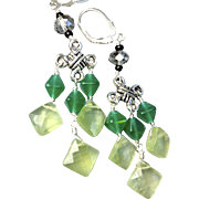 Onyx Prehnite Chandelier earrings Celtic Camp Sundance gift birthday