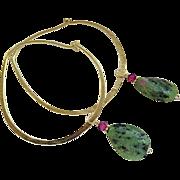 Bold Hoop, hoop Earrings, Ruby Zoisite charms, Bronze hoop earrings, Camp Sundance self closing hoops, Gem Bliss