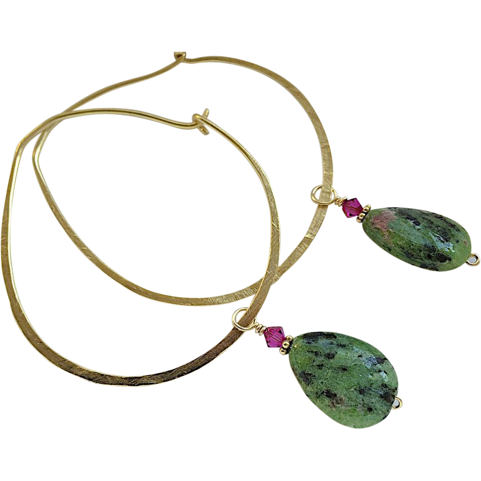 Bold Hoop, hoop Earrings, Ruby Zoisite charms, Bronze hoop earrings, Camp Sundance self closing hoops, Gem Bliss