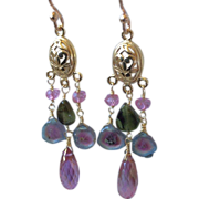 Tourmaline earrings, Topaz chandelier earrings, Watermelon Tourmaline chandeliers, Rose Gold filled, Camp Sundance, Gem Bliss