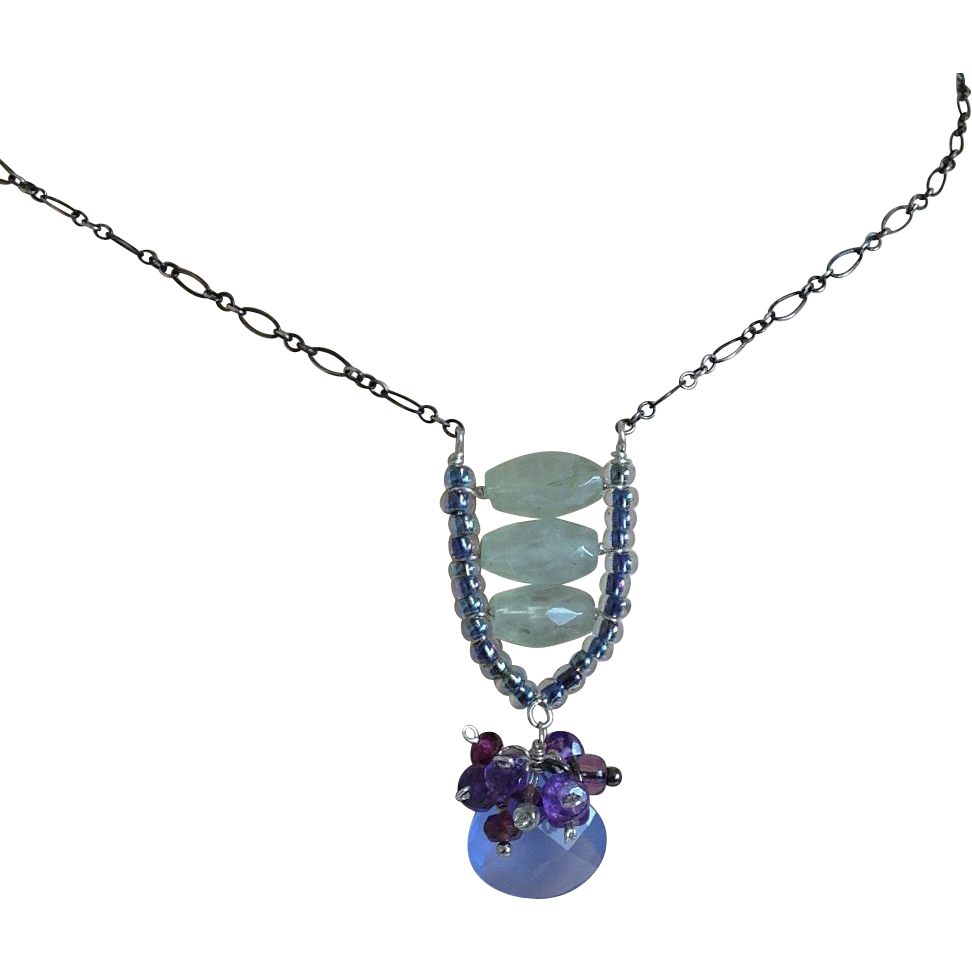 Chalcedony, Amethyst, green quartz, blue pendant, Silver necklace, Camp Sundance, Gem Bliss