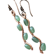 Green Twig earrings, Copper branch earrings, dangle drops, Vine, Camp Sundance, Gem Bliss