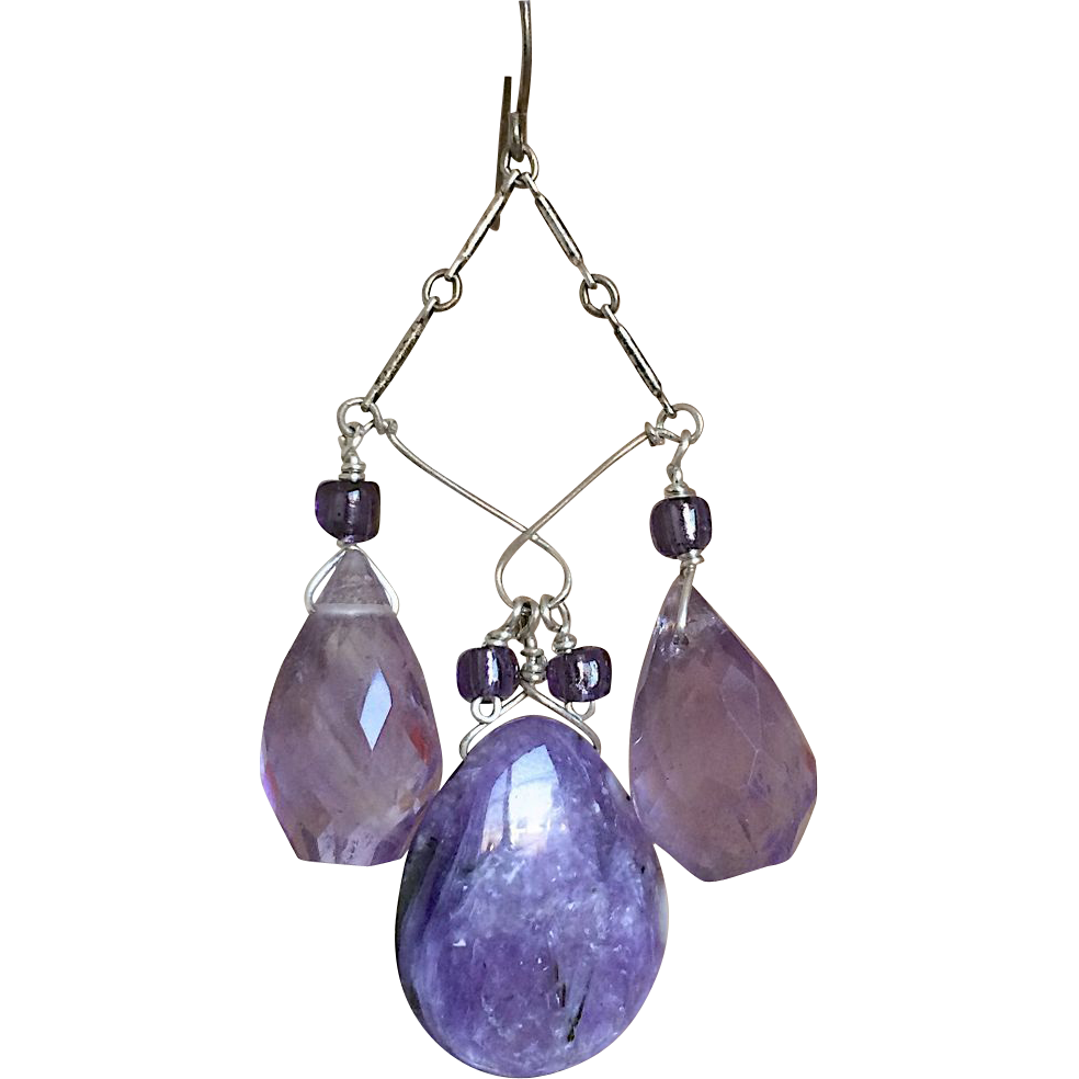 Charoite, Amethyst, Silver Chandelier earrings, purple earrings, Camp Sundance, Gem Bliss