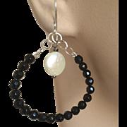 Jet black  Silver oval hoops Coin Pearl earrings, Camp Sundance, Gem Bliss