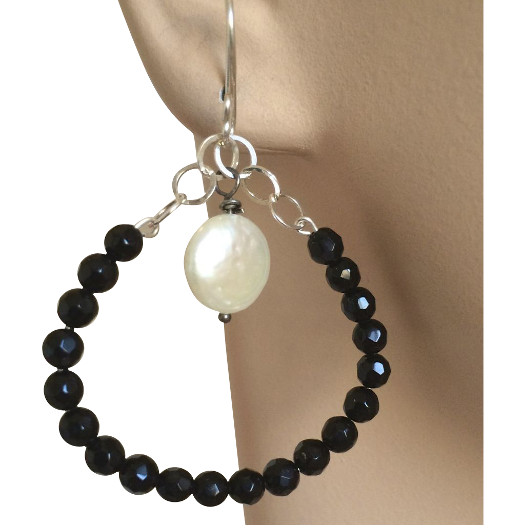 Jet black  Silver oval hoops Coin Pearl earrings, Camp Sundance, Gem Bliss