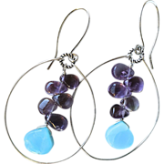 Amethyst, Peruvian Opal, Silver hoop earrings, February Birthstone, Camp Sundance, Gem Bliss