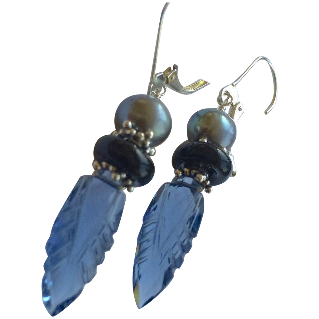 Carved London blue Quartz Silver lever back earrings Gem Bliss