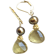 Citrine Chocolate Pearl Gold filled earrings Citrine is November birthstone Gem Bliss