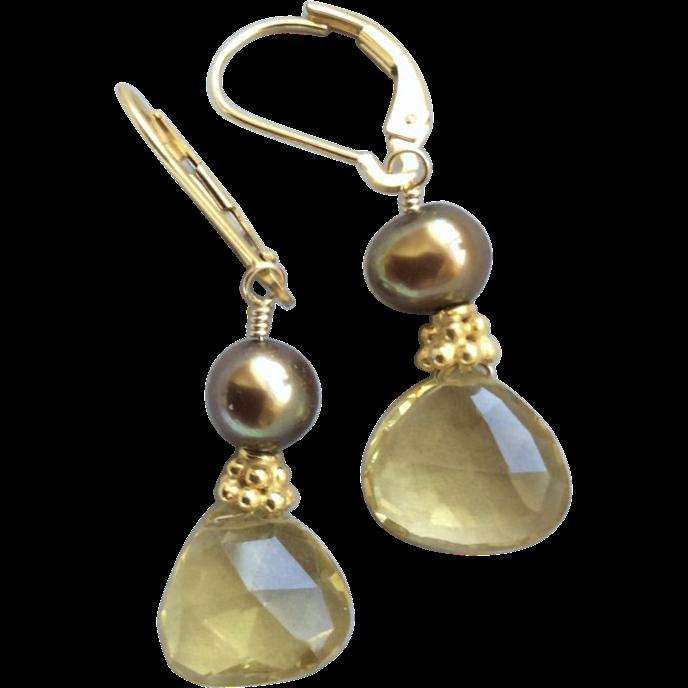 Citrine Chocolate Pearl Gold filled earrings Citrine is November birthstone Gem Bliss