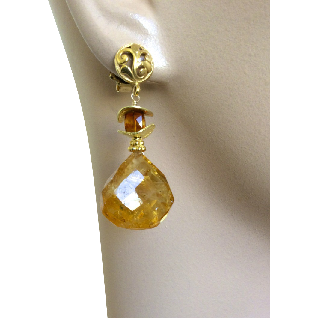 Citrine 18K Vermeil elegant post earring November birthday Camp Sundance Gem Bliss