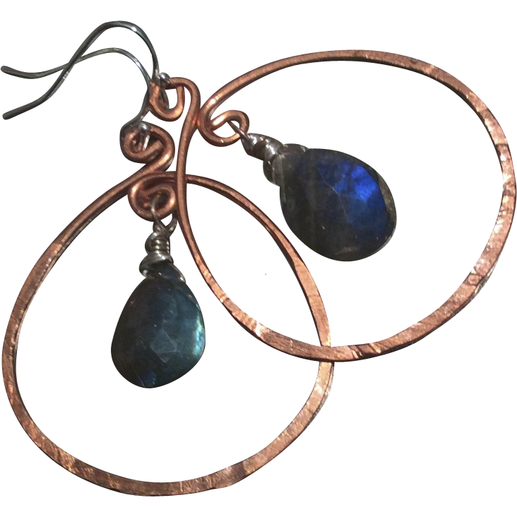 Copper Hoop earrings, Labradorite earrings, Copper earrings rustic hoops urban cowgirl Camp Sundance Gem Bliss