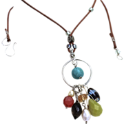 Tassel necklace Silver urban cowgirl charms necklace Turquoise Citrine Smoky Quartz Camp Sundance Gem Bliss