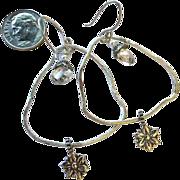 Sterling Silver bridal hoops crystal flower charm earrings, Camp Sundance Gem Bliss