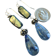 Blue Kyanite Abalone Silver earrings long Kyanite dangle earrings Camp Sundance earrings Gem Bliss