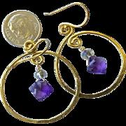 Gold filled Hoop earrings, Amethyst earrings, Gold filled hoops Amethyst hoops Camp Sundance Gem Bliss