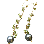 Tahitian Pearls earrings Peridot earrings Vermeil chandelier earrings South Sea Pearls Gem Bliss