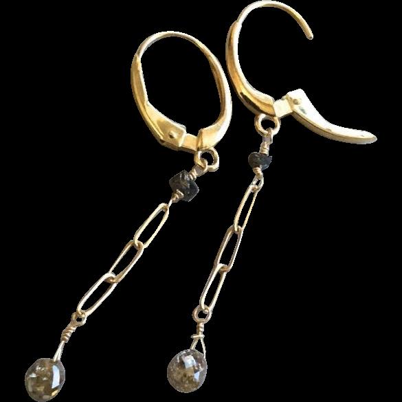 Diamond earrings 14K Gold Champagne Diamond briolettes Gold earrings Camp Sundance Gem Bliss