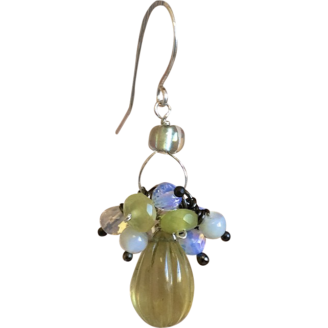 Lemon Quartz Opalite Cluster Silver earrings Gem Bliss