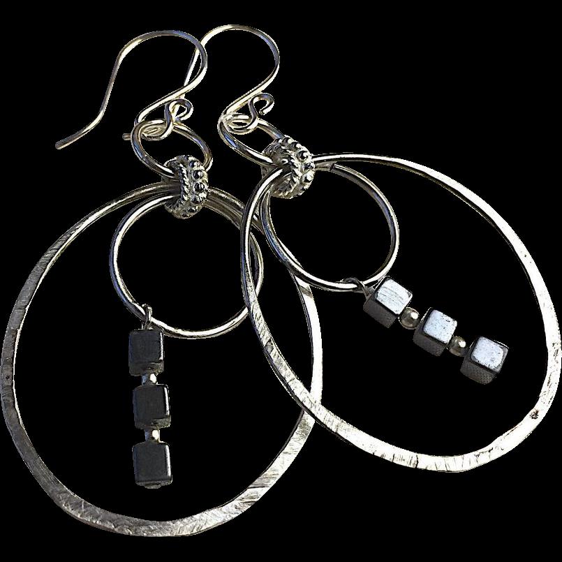 Silver Hoops Hematite Earrings Gem Bliss