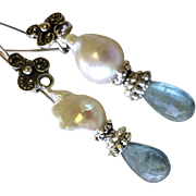 Moss Aquamarine Earrings, Baroque Pearl, Silver Earrings, Camp Sundance, Gem Bliss