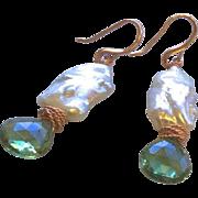 Pearl Topaz Earrings Rose Gold filled Gem Bliss