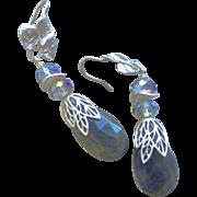 Labradorite Silver Crystal Silver Earrings flashy blue earrings Gem Bliss
