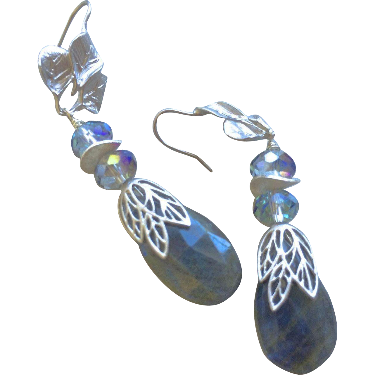 Labradorite Silver Crystal Silver Earrings flashy blue earrings Gem Bliss