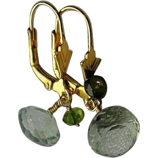 Green Amethyst earrings, Prasiolite briolettes, Camp Sundance earrings,Gem Bliss, Camp Sundance
