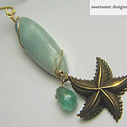 Mermaid Amazonite Apatite sea star charm Camp Sundance drop earring