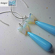 Opalite butterfly dangle drop earrings blue teardrop Silver Camp Sundance