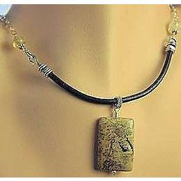 Jasper Citrine elegant black Leather Sterling Silver Camp Sundance necklace
