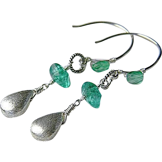 Apatite briolette forged petite hoop earrings brushed Sterling Silver drops Camp Sundance