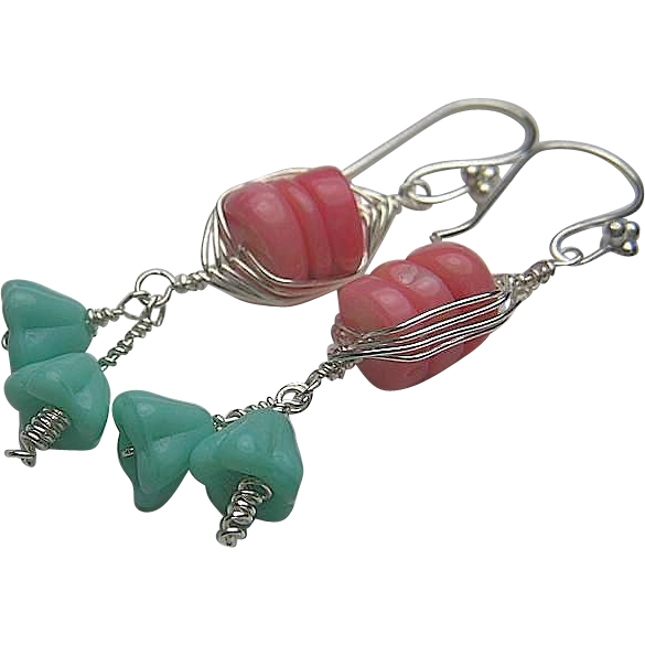 Coral Silver weave wrap aqua trumpet flowers bouquet dangle drop earrings