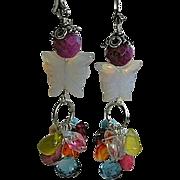 Topaz Opalite butterfly earrings Silver tulip gem cascade Camp Sundance